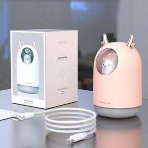 Yatak odası Bebek Odası Ev Ofis Araç USB Mini Nemlendirici için Gece Işığı Hava difüzör ile Şirin Taşınabilir Hava Nemlendirici Mist Soğuk