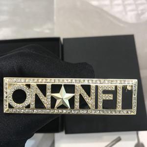 Tem marca de moda broches estrela Designer pino selo para amantes de casamento Partido Womens presente da jóia de noivado de luxo para a noiva com caixa