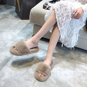 Spring Plush Slippers Women's Winter Home Furry Ears Indoor Slippers Sapato Feminino Shoes Woman AD45