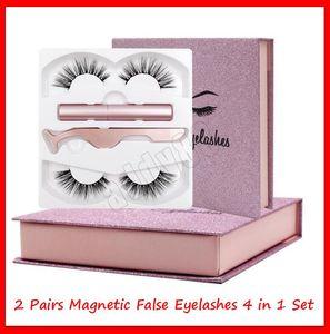 Outils de maquillage pour les yeux magnétiques 3D Vison Faux cils Traceur liquide magnétique brucelles Set 2 paires Cils magnétique Faux Cils Extension
