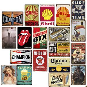Blechschild 92 Different 20 * 30cm Metallblechschild Bar Pub Dekorative Metall-Zeichen Retro-Metallplattentapete Cowboy Strand Bier Gun