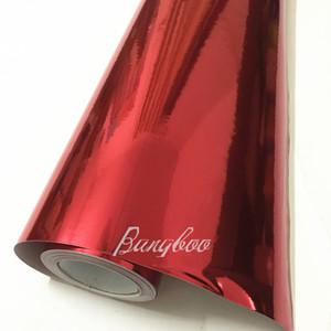 1.52 * 18 m PVC Vinyl Rolls Atacado Decoração Do Carro Adesivo Espelho Vermelho Stretchable Red Chrome Vinyl Wrap
