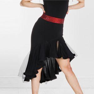 Personnaliser Latin Dance Jupe New Adult Femme Sexy Mesh Fishtail Jupe Pour Salle De Bal Cha Cha Samba Performance Robe Femmes DL3518