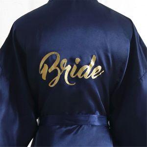 Solid color gold powder Bride and silk Bride's morning robe make-up Robe Women's imitation silk cardigan