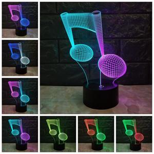 Music Note 3D LAMP USB Night Light Mixcolor RGB desvanece LED Lighting tocar na base acrílica Placa Table Desk presentes Início decorativa LAVA