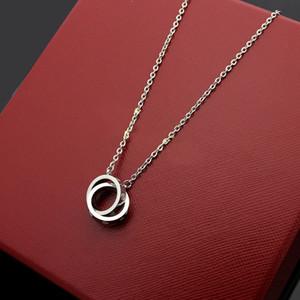Kadınlar için Moda yepyeni lüks tasarımcı büyük çift halka 18K altın Titanyum çelik çekicilik kolye hediye takı toptan kolye
