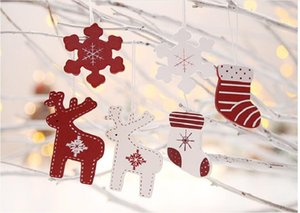 Christmas Tree Hanging Ornament Wooden Pendants Elk Snowflake Socks For Christmas Party Decoration