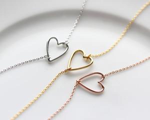 1 nova linha minúscula simples amantes oco coração em forma de pingente de pulseira fio simples envolto pulseira coração do amor para amantes casais jóias