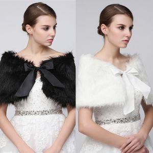 Белый Черный Свадебный Обруч Шаль Пальто Куртки Болеро Пожимает Плечами Обычная Искусственный Мех Украл Накидки Свадьба 17-001