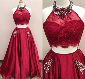 High Neck Prom Dress Homecoming Cheap 2 Piece Lace Crystal Beaded Dresses Evening Wear With Pocket A-line Open Back Satin Formal Women Plus