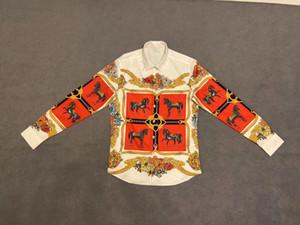 20ss dos homens camisetas tee letras paris War Horse flores totem imprimir roupas longa camisas de manga Homens Mulheres verdadeira New