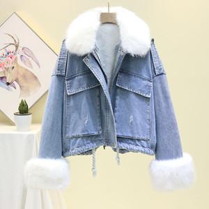 Kürk Kadınlar Jean Jacket 2019 Kış Denim Kadınlar parka Kadın Yün Liner Sıcak Parkas ile Kış Bayan Denim Ceket
