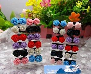 Precio al por mayor venta caliente de la manera de los pendientes de Rose Multicolor Resina Flor Stud para las mujeres pendientes de la flor TL1
