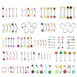 Großhandel Protomtion 110pcs Mixed Modelscolors Körperschmuck Set Harz Augenbraue-Nabel-Bauch-Lippenzunge Nasenring Bar Ringe