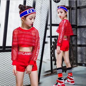 3PCS Girls Red Cool Ballroom Jazz Hip Hop Dance Competition Traje Tank Tops Shorts Net Blusa para niños Ropa de baile Trajes