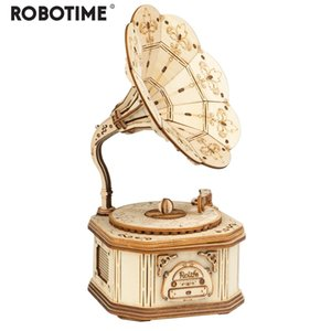 Robotime New Arrival DIY 3d Wooden Gramophone Model Building Kit Toy Gift for Children Friend Y200413