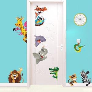 3d Cartoon Animals Door Stickers For Kids Room Bedroom Home Mural Art Diy Safari Wall Decal Lion Elephant Zebra Decoration