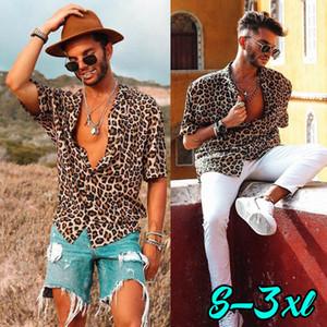 NEU Herren Leopard Kurzarm Shirt Sommer Cool Lose Beiläufige V-Neck Shirts Tops
