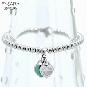Lujo Fysara Marca Eternas dobles bolas de corazón pulsera de cuentas para las mujeres Pareja Verde Rosa pulseras del encanto C19041201