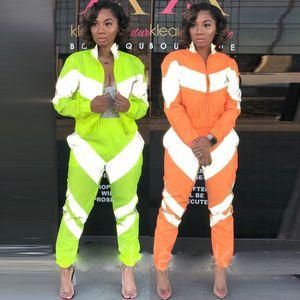 Reflektierende Womens Designer Tracksuits Mode Stehkragen Reißverschluss-Mantel 2pcs Street Style Damen Zweiteilige Sets