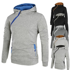 20AW Mens Designer Hoodies beiläufige Kontrast-Farben-starke lange Hülsen-mit Kapuze Sweatshirts Reißverschluss-Front Herren Pullover