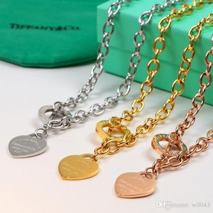 2020 Nuovo Titanio acciaio Amore Cuore Collane per le donne che Wedding i monili dal design di lusso collane Normativa gioielli 3dtiffany