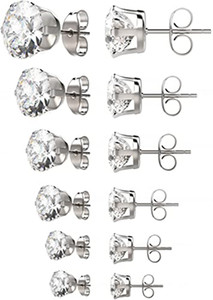 Womens Stainless Steel Stud Earrings Set Hypoallergenic Pierced Cubic Zirconia 18K White Gold pated 6 Pairs 3-8mm