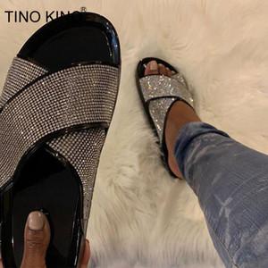 TINO KINO 2020 cristal de las mujeres Nueva deslizadores del verano señoras de los zapatos planos ocasionales de Bling Beach femeninas de la manera más el tamaño de calzado
