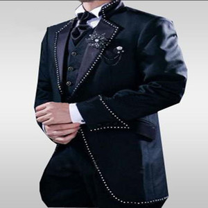 Un botón azul marino Blazer largo Novio Esmoquin Padrino de boda para hombre Trajes de baile 2017 (chaqueta + pantalón + chaleco + corbata) Bespoke Plus CY03