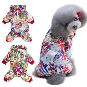 The New Autumn and winter pet dog clothes thick clothes warm jumpsuit fashion four-legged thick cotton Colorful jacket