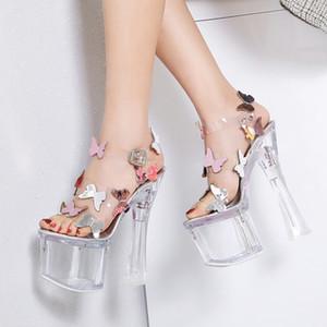 Gelin yaz düğün ayakkabı ultra yüksek topuklu kalın topuk 8 cm platformu şeffaf PVC kristal kelebek sandalet 18cm