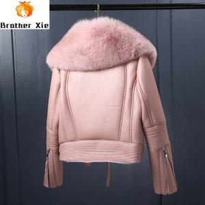 2020 Nouveau Les femmes d'hiver imitation peau de mouton Manteau court Faux col de fourrure laine d'agneau Veste en cuir épais Réchauffez Femme Zipper-vêtement
