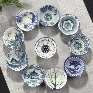Mavi ve beyaz porselen çay Kupası, El-boyalı Koni Teacup Çin tarzı desen teacups, Çay aksesuarları Puer fincan