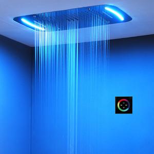 안개 낀 샤워 꼭지 LED 천장 호화스러운 다채로운 머리 위 샤워 304SUS710x430mm 큰 목욕탕 강우 폭포 거품 샤워 꼭지