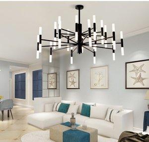Modern Moda Tasarımcısı Black Gold Led Tavan Art Deco Mutfak Salon Loft Bedroom için Avize Işık Lambası Asma