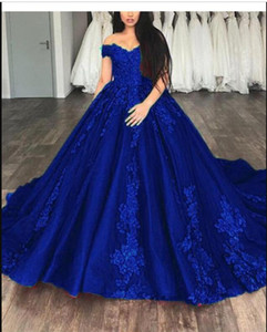 Top Quality Ball Gown Off The Shoulder Floor Length Tulle Quinceanera Dresses Appliques Lace Prom Dresses vestidos de 15 anos