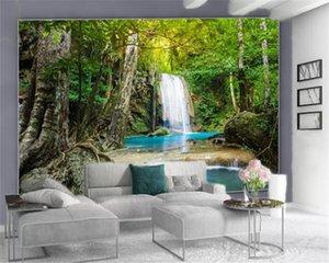 Custom 3D Photo Wallpaper Beautiful Forest Waterfall Custom Beautiful Scenery HD Decorative Silk Mural Wallpaper