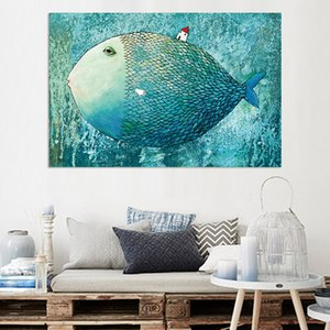 Canvas Painting Wall Posters and Prints Cartoon Big Fish Wall Art Pictures For Children Living Room Decoration Dining Hotel Home Decor