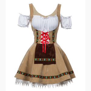 Sexy Oktoberfest Beer Girl Costume Maid Wench Alemania bávara manga corta Fancy Dress Dirndl para mujeres adultas