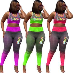 بريد إلكتروني طباعة الدعاوى رياضية للمرأة اليوغا العلامة التجارية الرياضية الركض وتتسابق 2 قطعة متدرجة اللون سترة بلا أكمام سليم سروال مجموعة ملابس رياضة S-3XL