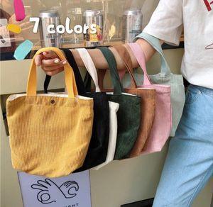 DHL50pcs 2020 neue Frauen Corduroy Fest Min Lunch Box Picknick-Speicher-Beutel-Mischungs-Farben-Einkaufstasche