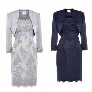 Prata escuro marinho laço mãe dos vestidos de noiva com jaqueta colher lantejoulas frisado cetim joelho comprimento curto vestidos de noite curtos