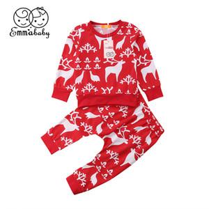 Los bebés infantil de Navidad del niño del bebé de los muchachos ropa de las muchachas de la Navidad fijados reno de manga larga y camisetas Pantalones Casual Conjuntos Pijamas Ropa