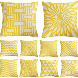 45x45cm Home Decor Embroidery Cushion Cover Golden Geometric Polyester Cotton Suqare Square Pillow Cover
