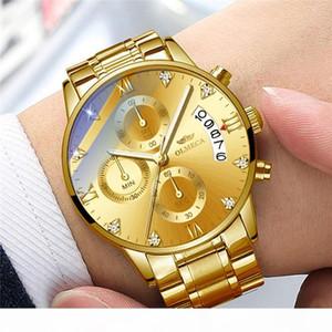 OLMECA Mens Fashion Wristwatch Luxury Stainless Steel Quartz Watch Men Chronograph Calendar Luminous Waterproof Gold Watches