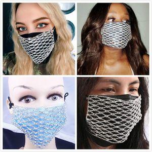 Fashion New Acrylic Diamond Decoration Mask Jewlery Woman Veil Shiny Rhinestone Night Club Mask Accessories