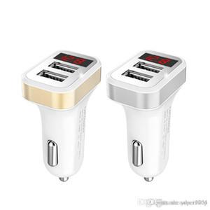 شاحن سيارة LED العرض الرقمية 2.1A المزدوجة USB ميناء لباد فون سامسونج XIAOMI LG هواوي الهاتف محول شحن