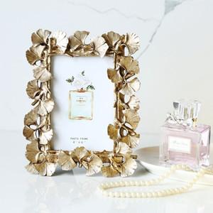 resina creativo retro de oro hojas de Ginkgo accesorios para el hogar marco de fotos 6 pulgadas nostálgico verde Photo cuadro enmarcado marco de regalo