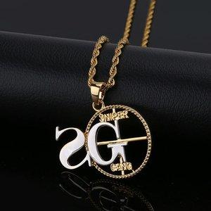 hip hop 2G Sniper Gang diamanti collane ciondolo per gli uomini di lusso numero lettera pendenti 18k placcato oro rame zirconi collana catena cubana