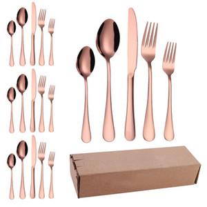 De haute qualité Couverts Couverts Fourchette couteau cuillère en acier inoxydable noir coloré Set Vaisselle Couverts Vaisselle Set EEA1417-4 de